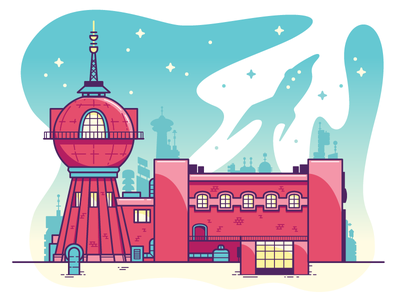 Good news, everyone! scifi space building vector illustrator futurama