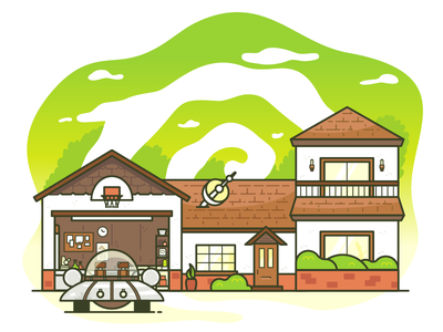 I am in great pain please help me. scifi building house portal vector illustrator rick and morty