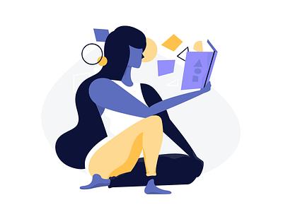 Reading book vector woman blog shopify
