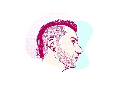 Self Portrait 2018 creative brain time side profile vector wacom illustrator self portrait me face