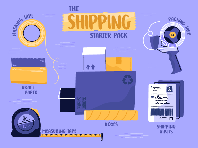 Shipping Starter Pack monthly illustration vector entrepreneur shopify mail shipping