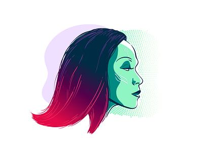 Gamora wacom illustrator face side profile guardiansofthegalaxy gamora