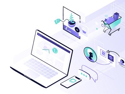 Marketing Tech purple 3d illustrator marketing laptop shopify isometric
