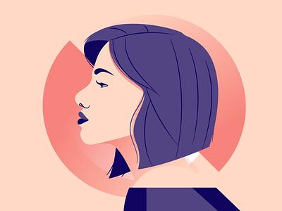 Side Profile face purple illustration illustrator woman vector