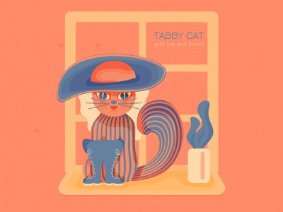 TABBY CAT - with hat and boots illustration flat illustration illustration art illustrator tabby cat