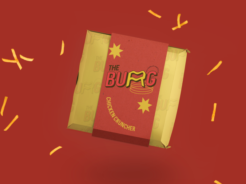 The BURG - Fast Food Neighbourhood redesign branding student pop art packaging fast food burger