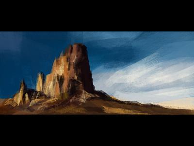 Rasterpaint rocks painting landscape nature brown adobe photoshop art illustration