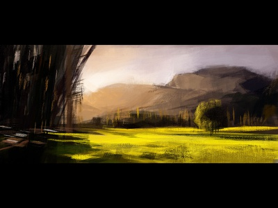 Rasterpaint mountain landscape painting adobe photoshop art illustration