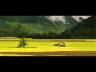 Rasterpaint mountains nature yellow landscape painting adobe photoshop art illustration