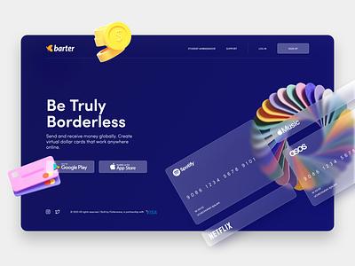 Barter by Flutterwave Website Landing Page UI/UX Redesign web minimal ux ui productdesign payment credit cards glassmorphism uidesigner webdesign uiux ui design uidesign