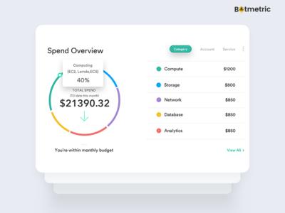 Botmetric's cost governance dashboard, spend overview widgets