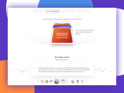 Features and Testimonials UI For CleverTap Home Page design clevertap ux home pave features ui clevertap testimonials ui features ui