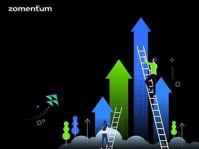 🔥 Illustration ideas for Scaling MSP Sales 🔥 branding vector sales tool zomentum gradient design crm sales msp illustration