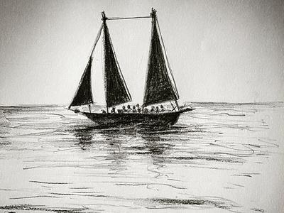 Pencil sketch drawing boat in open sea pencil drawing pencil sketch pencil art drawingart drawings drawing