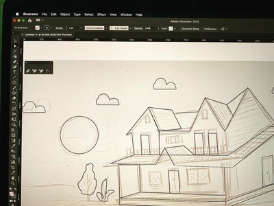 Pencil Sketch to Illustration, Country House illustrations illustrator illustration pencil drawing pencil sketch