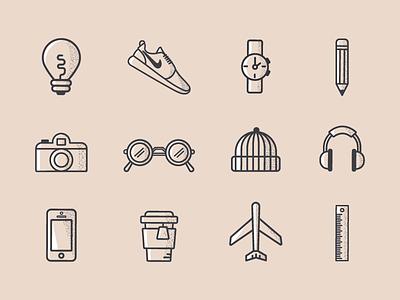 Personal Icon Set line icons icons illustration personal identity nike travel