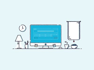 Home Office animation illustration motion motion graphics desk home office office workspace line desktop