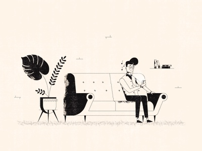 Jammin' Tunes iphone video music couch plants character design character line illustration