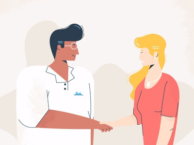A friendly handshake texture flat design character design character woman man office animation illustration