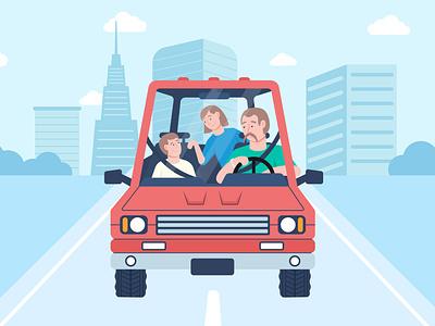 family time in car landscape jeep citycar cityscape city flat design illustration flat illustration vector family