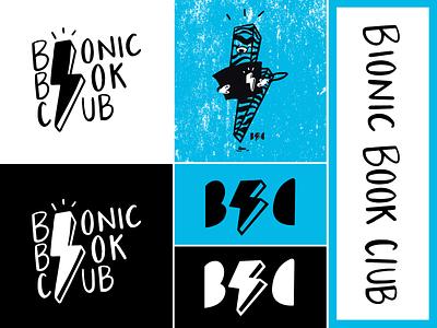Bionic Book Club branding comics logo mark logo design logo hand made distress digital design digital painting digital drawing procreate ipadpro illustrated illustration drawing lightning bolt books book club comic