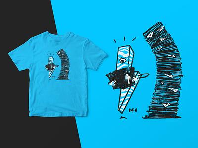 Cyclops and Stack of Comics reading lightning bolt t shirt design logo logo design t-shirt design shirt distress illustrate illustration digital design art design comic comics comic book