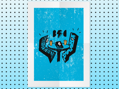 The Cyclcops' Reading Comics and Drinking Beer logo design logo digital art drawing digital design polka dots leopard print illustrate illustration digital distress beer reading comics comic books poster poster design design art