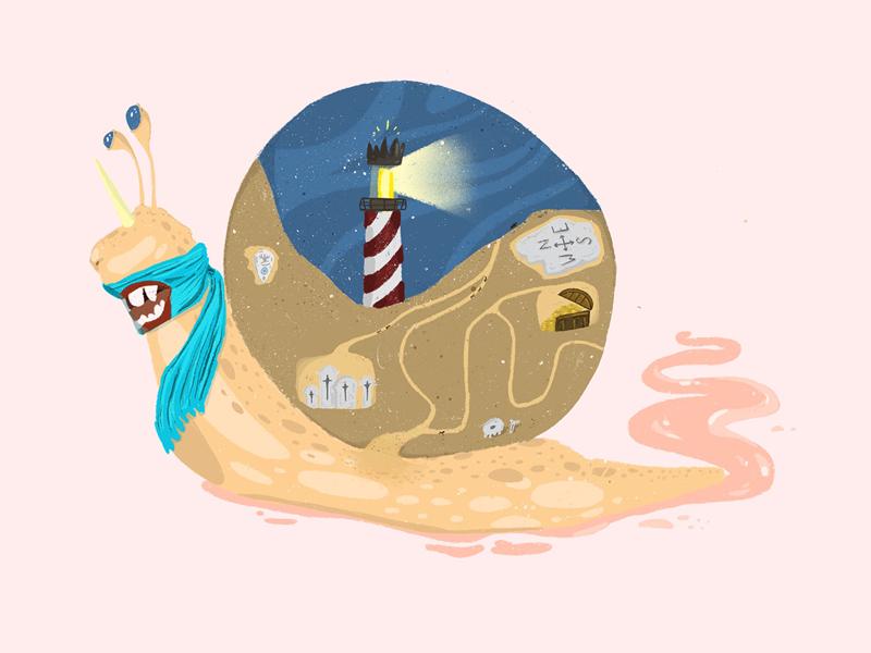 Snail ouija treasure lighthouse illustration design art procreate snail