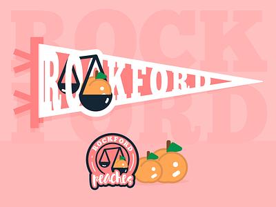Rockford Peaches brand branding icon logo digital design illustration design art weekly warmup weeklywarmup pennant peaches rockford baseball womens baseball