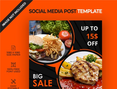 Food big sale social media post template