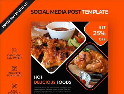 Hot delicious food social media post