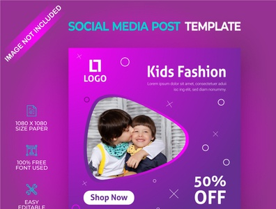 Kids fashion social media post template
