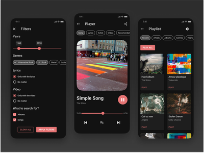 Dark Music app UI concept dark theme ux slider chips cards ui app bar top bar tabs mobile dark mode player radiobutton checkbox tooltip title header icons red button filters