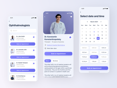 Doctor Here - medical mobile app design booking time calendar details card search design app ui ux button user interface user experience typography