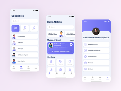 Doctor Here - medical mobile app design booking booking list chat medicine main screen profile colors card app button ux user interface user experience typography ui