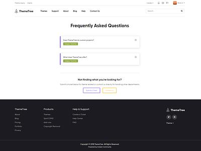 FAQ Page [WIP] - ThemeTree 4 themetree 4 themetree wip page faq