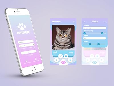 Pet Dating App date dating app cat uidesign application interfacedesign mobile app ux ui product design ui design mobile ui app