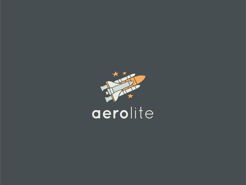 Aerolite - Rocketship Logo hand drawn logo design spaceship daily logo challenge space rocketship