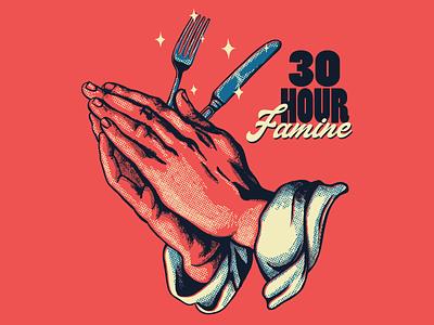 30 HR Famine halftone fork food christian praying hands screen printing shirt ai typography design illustration