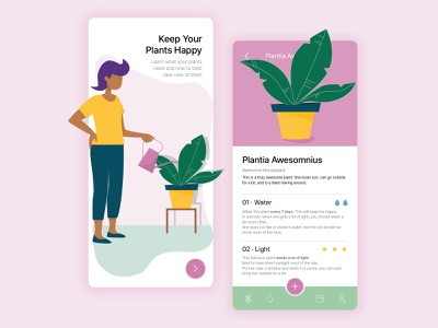 keep your plants happy woman pink green watering vector ui design product app mobile design mobile app design mobile app illustration plant mobile app plant app design creative