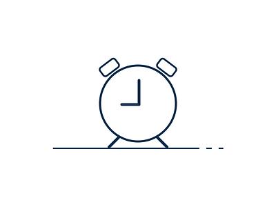 Clock icon white lines alarm time clock