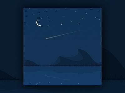 Night sky dark moon landscape nightscape scene sketchapp illustraion blue lakes mirror shooting star stars lake sky night