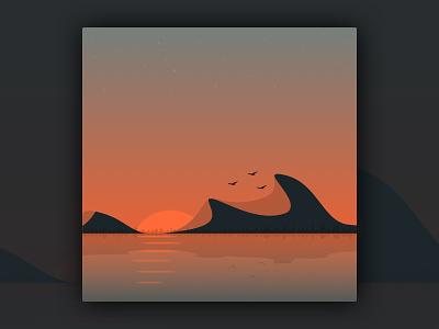 Sunrise in the mountains sunset mirror lake lake mirror birds sun orange mountains sketchapp illustration sunrise