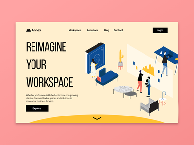 Shared Workspace Landing Page illustration landingpage website branding ui web ux design dailyuichallenge dailyui