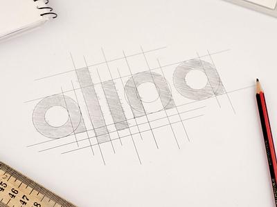 Alina Business card foil stamped letterpress business card design wordmark business card wiltshire custom lettering custom type creative logo design logo branding