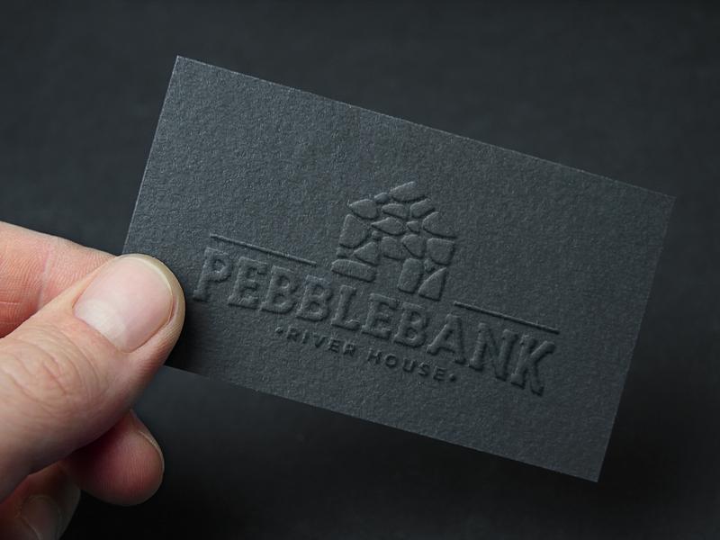Pebblebank Business Card creative wiltshire logodesign monogram letterpress business card logo design logo branding