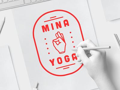 MINA YOGA LOGO wordmark creative wiltshire minimal red white hand mockup design branding logo design logo