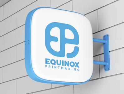 Equinox Logo lightbox sign wayfinding equinox printmaking creative wiltshire signage logo logo design branding