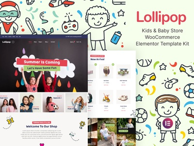 Kids & Baby Store WooCommerce Elementor Template Kit toddler woocommerce store baby kids elementor template design ux ui website