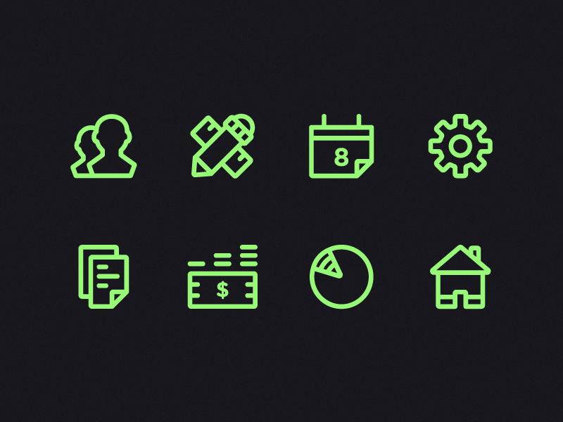 Menu Icons icon calendar documents home pie money coin gear pencil ruler user line